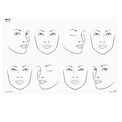 FAB021 Wipeable Practice Board Adult Side Profile and Front Face Landscape (Eyes Open and Shut)
