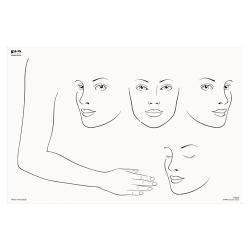 FAB023 Wipeable Practice Board Adult Faces x 4 and Full Arm and Hand