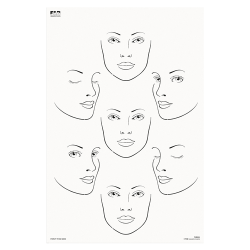 FAB024 Wipeable Practice Board Adult Faces Profile and Front Face x 7 Portrait