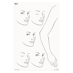 FAB025 Wipeable Practice Board Adult Profile Face x 5 and Full Arm and Hand Portrait