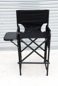 Model 3 High Aluminium Frame Directors Chair with Integrated Seat, Back, and Small Fold Out Table