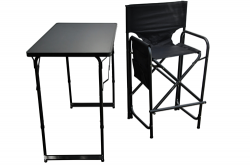 Model 2 High Aluminium Frame Directors Chair with Integrated Back and Separate Table Set (Holdall included)