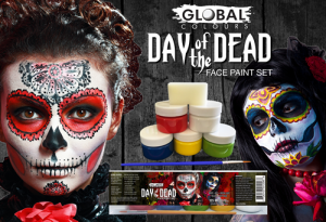 Global Colours Body Art Day of the Dead Face Paint Set