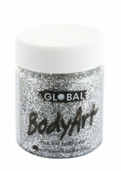 Global Body Art Liquid Face Paint Glitter Silver 45 ml