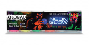 Global Colours Body Art Neon Glow Face and Body Art Set