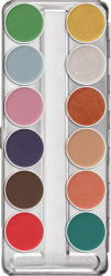 Kryolan Aquacolor Interferenz Palette 12 x 3 ml Colours