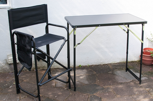 Model 1 High Aluminium Frame Directors Chair And Separate Table Set  (Holdall Included)