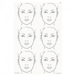 FAB014 Wipeable Practice Board Adult Face Portrait x 6