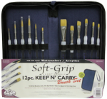Royal and Langnickel Soft Grip Short Handle Keep and Carry Brush Set (12 Piece)